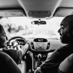 father teaches teenage daughter to drive a car Philadelphia Lucy Baber Family Photographer